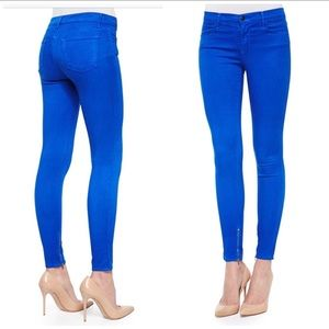 J Brand Electric Blue Ankle Cropped Jeans